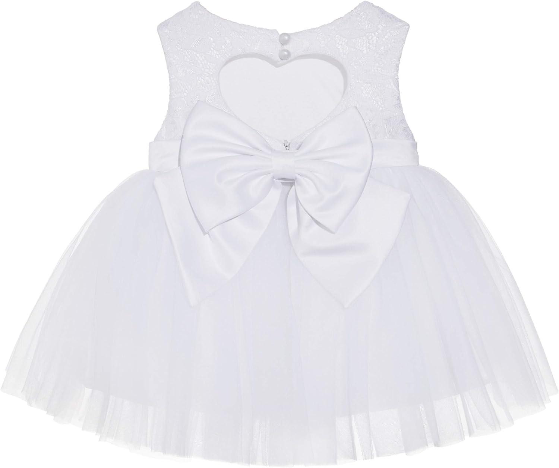 White Lace Heart Cutout Junior Flower Girl Dress Mini Bride Wedding BB1