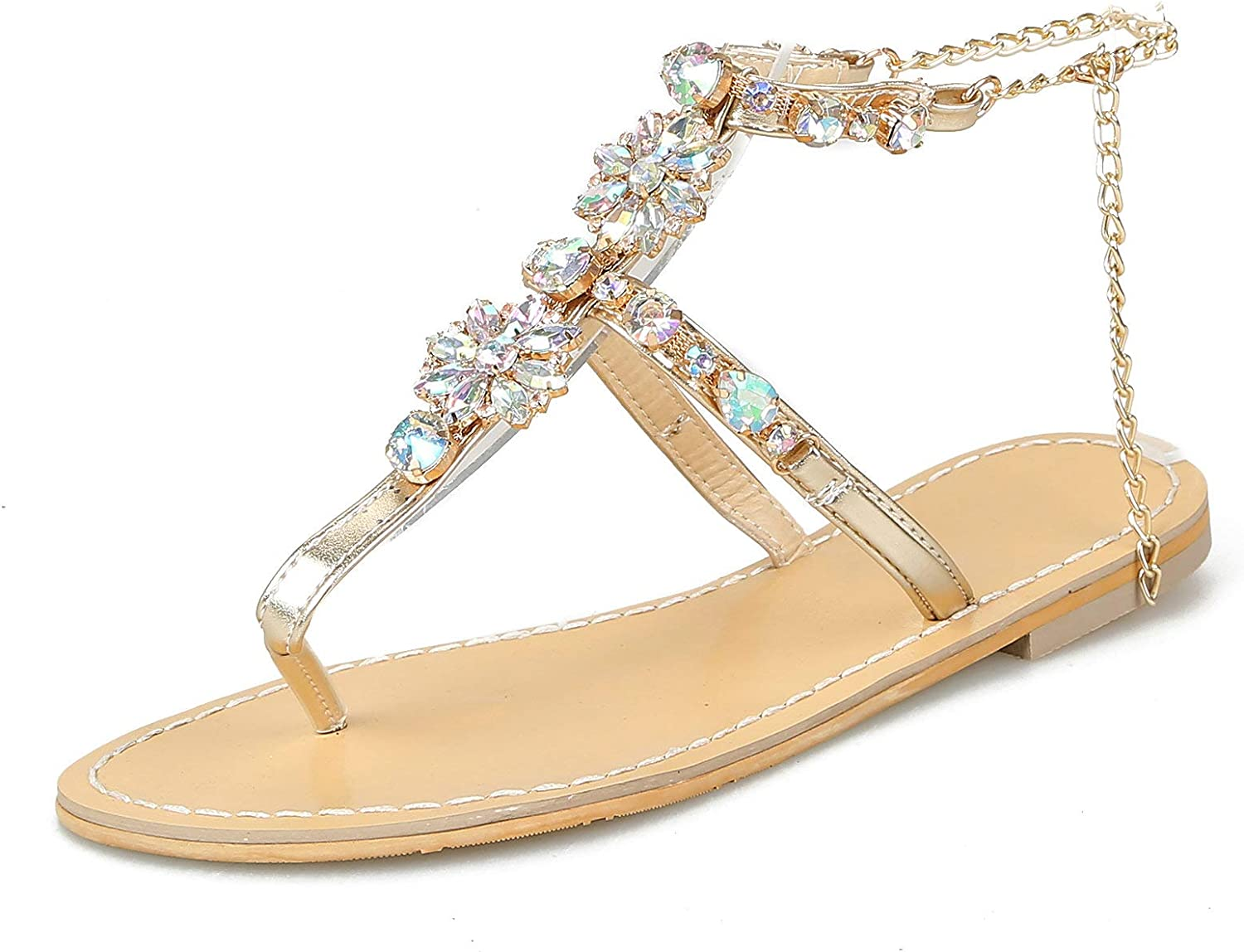 Thong Flats Sandals Women Ankle Strap Rhinestone Flip Flops Metal Chain Slingback T-Strap Summer Outdoor Casual Beach Walking shoes gold Silver