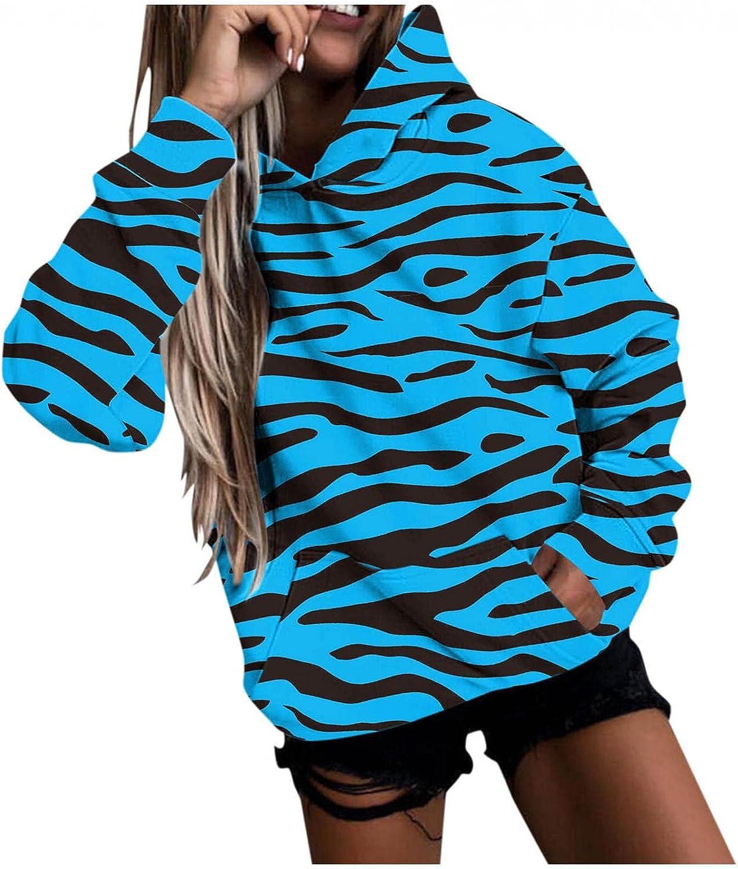 COMVALUE Womens Hoodies,Womens Pullover Sweatshirts Fashion Printed Pocket Long Sleeve Casual Tops