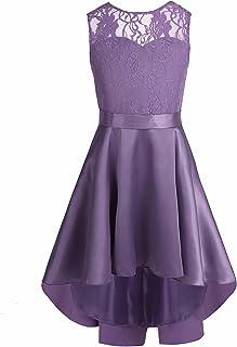 iEFiEL Kids Girl's High-Low Hem Princess V Back Lace Wedding Pageant Party Flower Girl Dress