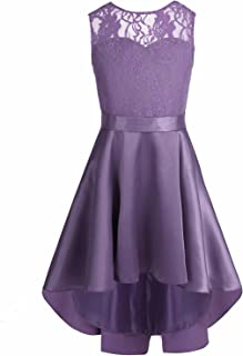 iiniim Big Girls' Big Floral Lace High Low Ball Prom Party Bridesmaid Dress