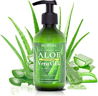 Bighture Aloe Vera Gel, 100% Aloe Vera Organic from Freshly Cut Aloe Leaves, Skin Care for Deeply&Rapidly Soothing, Firmin...