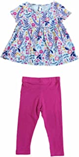 392b3e2e4fd22 Toddler Little Girls Floral Flower & Fern Shirt Hot Pink Leggings Outfit