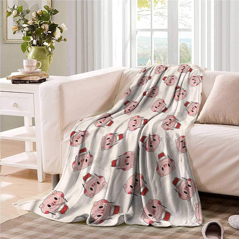 Oncegod Nap Blanket Pig Drumer Animal Musical Design Bedding Throw, or Blanket Sheet 60  W x 51  L