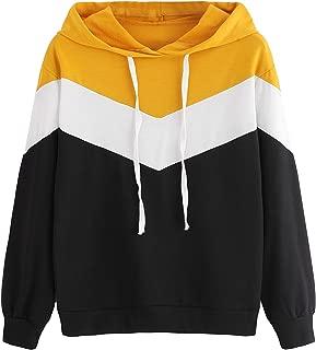 SweatyRocks Women's Sweatshirt Color Block Long Sleeve Drawstring Pullover Hoodie
