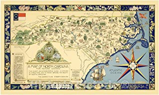 Historic Pictoric A Map of North Carolina for Nature Lovers The Garden Club of North Carolina, 1937 - Vintage Wall Art - 24in x 14in