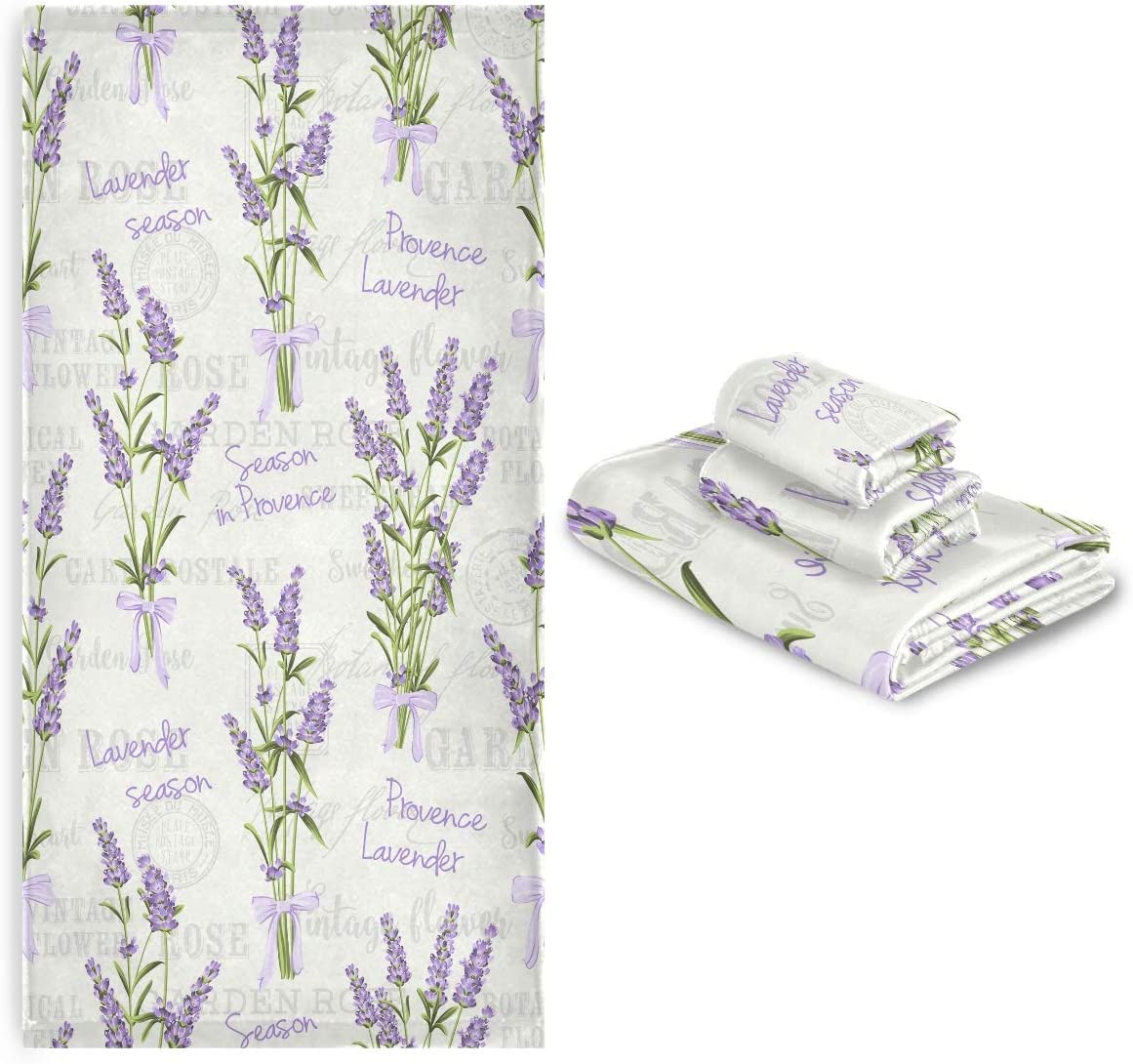 Vdsrup Vintage Lavender low-pricing Towels Set of 3 Flowers Spring Ranking TOP12 Ha Summer