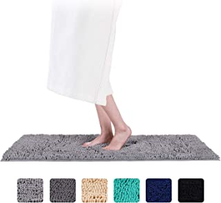 Smiry Luxury Chenille Bath Rug (47x 16), Extra Soft and Absorbent Shaggy Bathroom Mat Rugs, Machine Washable, Non-Slip Plush Carpet Runner for Tub, Shower, and Bath Room(Grey)