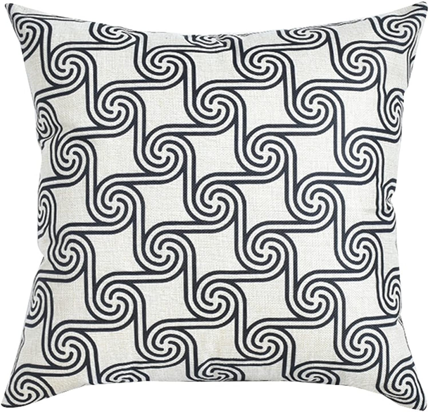 Square Pillow Cartoon Printing Living Room Bedroom Study Office Sofa Pillow Household Cushion Cover Chair Waist Cotton and Linen Washable(45cm45cm) Decorative Pillow (color   B, Size   45CM45CM)