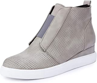 Catata Womens Classic High Top Platform Flat Sports Shoes Casual Slip On Zipper Wedge Sneakers