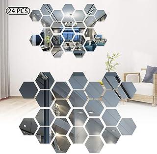 Stickers muraux miroirs, géométriques 3D hexagonales en acrylique pour décoration de maison, salon, chambre à coucher, can...