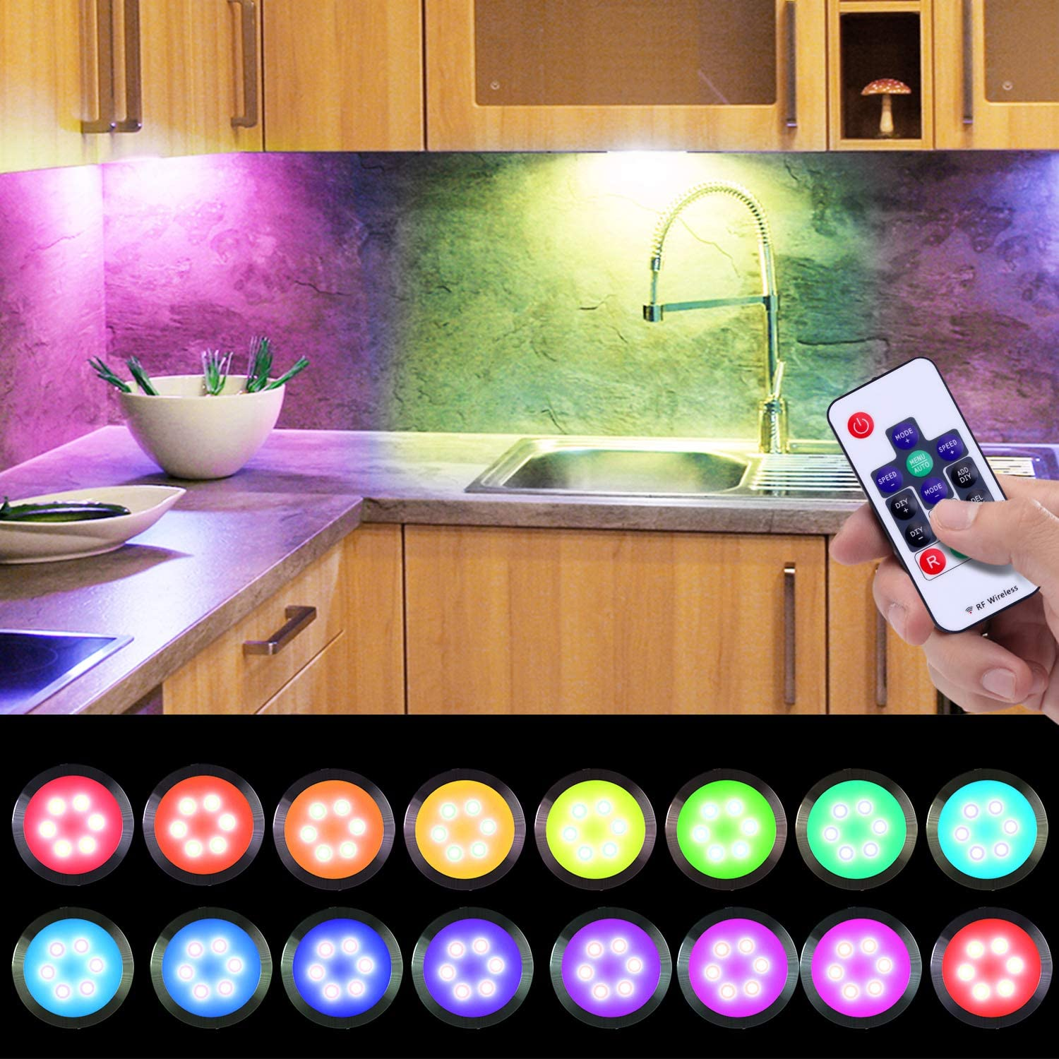Buy Dream Color Under Cabinet Lights Aiboo Linkable Dimmable Color Changing Puck Lights Kit With 14 Keys Rf Remote Control 24v Rgb Under Cabinet Lighting Kit For Party Christmas Decorations 16 Pack Online
