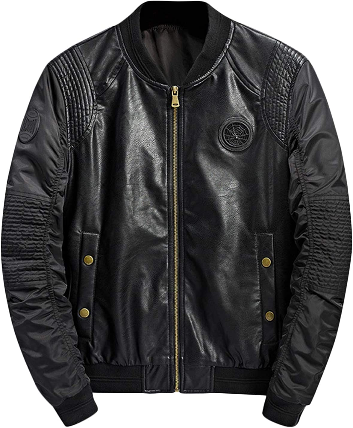 Springrain Men's Stand Collar Zip Up Faux Leather Moto Biker Bomber Jacket