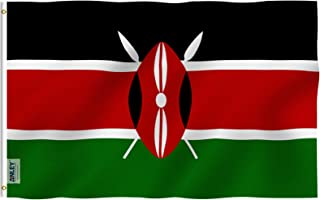 Anley Fly Breeze 3x5 Foot Kenya Flag - Vivid Color and UV Fade Resistant - Canvas Header and Double Stitched - Republic of Kenya Flags Polyester with Brass Grommets 3 X 5 Ft
