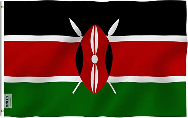 Anley Fly Breeze 3x5 Foot Kenya Flag Vivid Color And UV Fade Resistant Canvas Header And Double Stitched Republic Of Kenya Flags Polyester With Brass Grommets 3 X 5 Ft