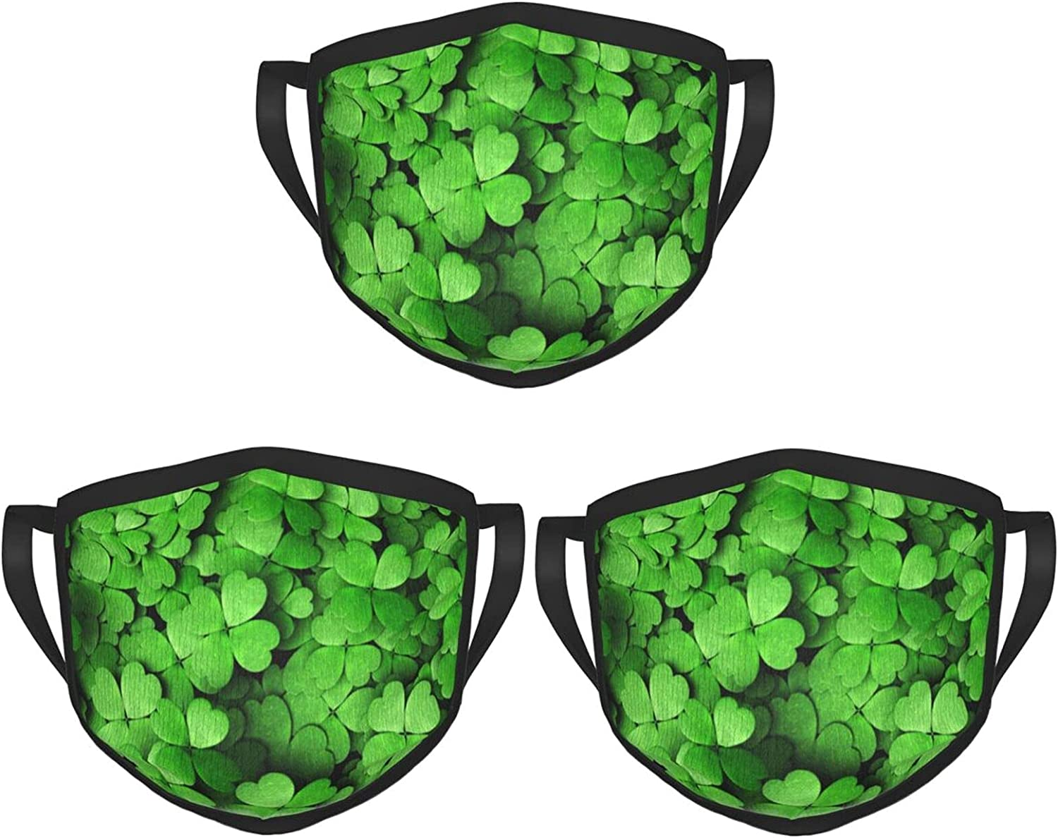 Balaclava Earmuffs St-Patricks-Day Four-Leaved Clover Face Mouth Cover Mask Reusable Washable Scarf Towel Cover Headwrap