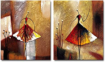 Wieco Art - Ballet Dancers 2 Piece Modern Decorative Artwork 100% Hand Painted Contemporary Abstract Oil Paintings on Canv...
