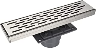 EMBATHER 12 Inches Shower Drain with Removable Strainers,PVC Shower Drain Base for Bathroom Floor Drain,Brushed Nickel Stainless Finished