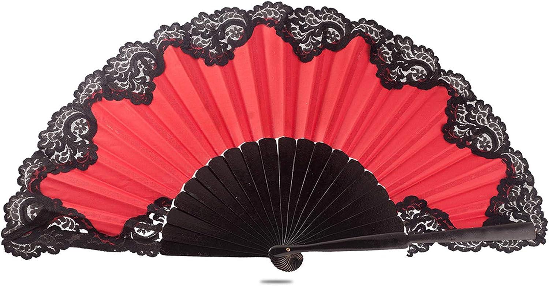 Ole Popular standard Flamenco Spanish Dance Fan Red Pericon Lace L with Black Max 63% OFF