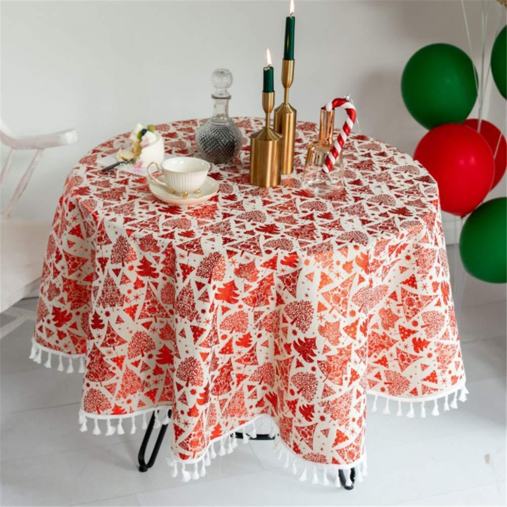 SONGHJ Lino de algodón Mantel Redondo de Navidad Borla Estampado en Caliente Cubierta de Mesa Decoración de Fiesta de cumpleaños Paño de Mesa de Comedor Un diámetro de 100 cm: Amazon.es: Hogar