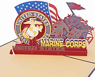 3D Pop Up Greeting Card - Soldiers of U.S. Marine Corps Retired Commemorative Crad,Birthday Card, Anniversary Card,Thank You Card,Marine Gifts by AITpop