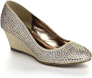 Nicki-23 Women's Round Toe Glitter Slip On Wedge Pumps
