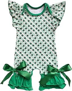 Newborn Baby Girls Ruffle Romper Jumpsuit Valentine's Love Heart Easter Egg Print Bodysuit Pajama Outfit