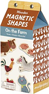 Mudpuppy On the Farm Wooden Magnetic Shapes – Great for Kids Age 3+ - 30 Wooden Magnets Featuring Friendly Farm Animals and Objects – Fun Imaginative Play on Any Magnetic Surface