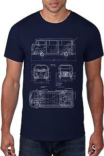 Vintage Bus Schematic Men's Tee Shirt, Navy