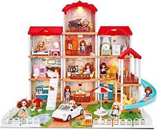 UNIH Dollhouse with Light and Music, Dream Dollhouse with 11 Rooms Furniture Accessories and 2 Dolls House Toy for Toddler...