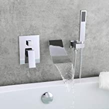 KunMai Waterfall Wall-Mount Tub Faucet with Handheld Shower,Chrome Waterfall Spout Bathtub Faucet with Hand Shower Solid B...
