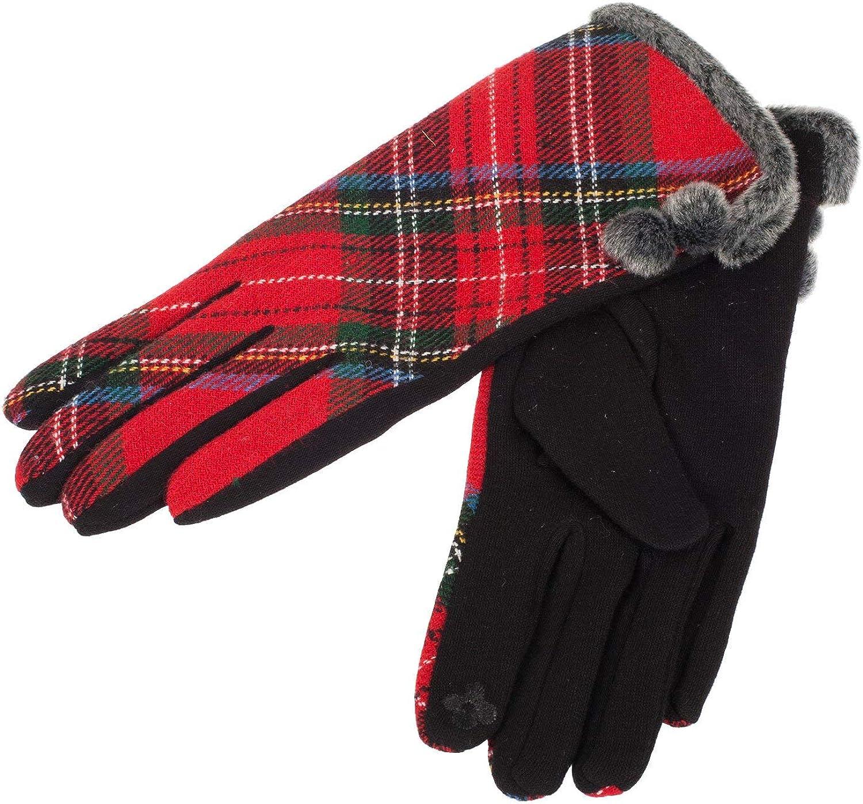 Tartan Traditions Ladies Irish Double Pom Pom Gloves, Red Colour