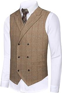 Men's Vest Slim fit Tweed Waistcoat V-Neck Herringbone Wool Plaid Suit Vest