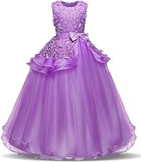 bb3d23dbe8a6d NNJXD Fille sans Manches Broderie Princesse Pageant Robes Enfants Bal Robe  de Bal