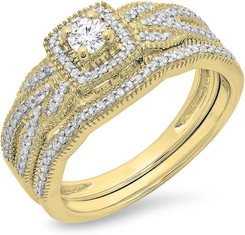 Dazzlingrock Collection 0.45 Carat (ctw) 10K Gold Round Cut Diamond Ladies Bridal Halo Engagement Ring Matching Band Set 1/2 CT