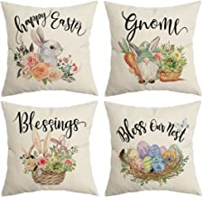 CROWNED BEAUTY Easter Pillow Covers 18x18 Set of 4, Gnome Easter Decorative Throw Pillow Covers Farmhouse Decor for Home C...
