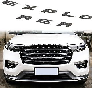 MICOOS متوافق مع غطاء رأس السيارة من ألياف الكربون وملصقات تزيين حروف لفورد إكسبلورر 2020 2021 (قطعتان أسود)