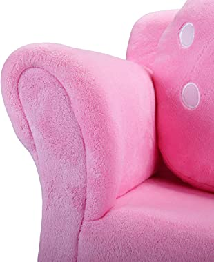 TOBBI Children Couch Armrest Chair,Kids Sofa Double Seats,Solid Wood Toddler Lounger with 2 Lovely Strawberry Pillows,Pink