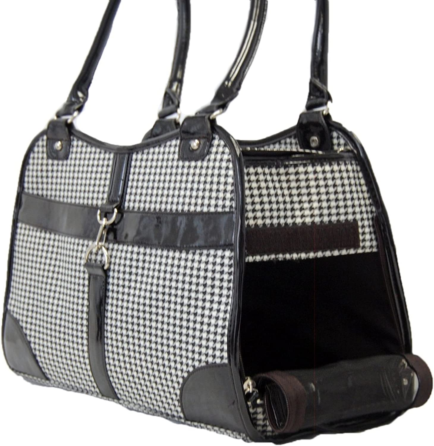 Houndstooth Print Tote Pet Dog Cat Carrier Tote Purse Travel Airline Bag BlackMedium by mpet