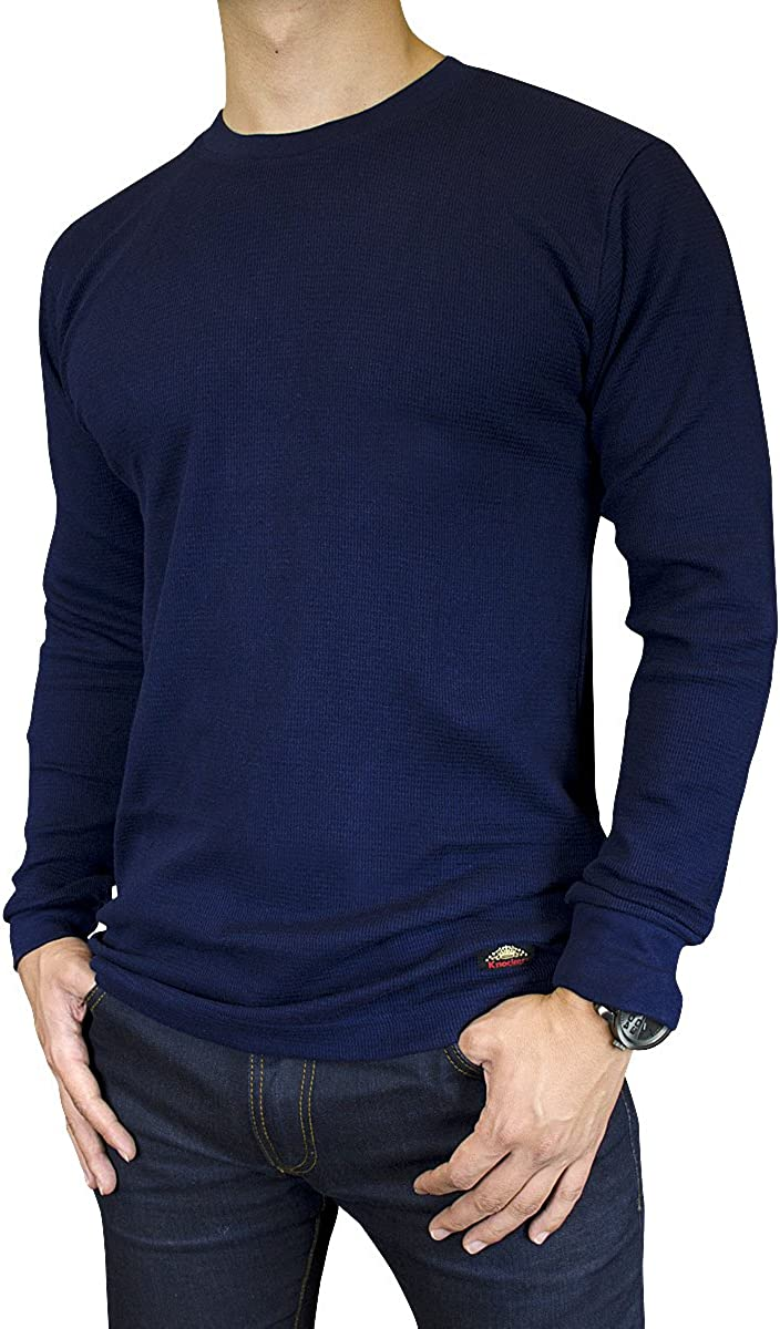Men's Mid Weight Thermal Long-Sleeve Top Shirt (Navy, Large)