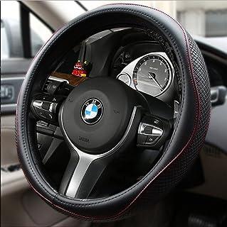 Estelatop Genuine Leather Steering Wheel Cover, Anti Slip, Breathable and Odorless, Universal 15 Inch Car Steering Wheel Cover