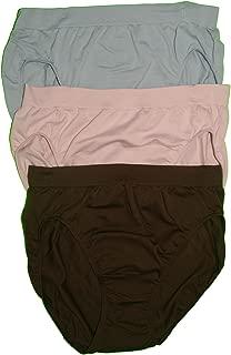Women's Comfort Revolution High-Cut Panties, Brown/BlushingPink/Blue, 6/7