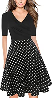 oxiuly Women's V-Neck Long Sleeve Floral Casual Cocktail Party Swing Dress LH233