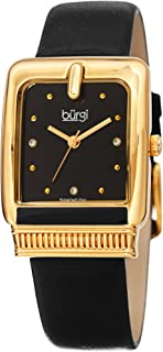 Burgi Rectangle 3 Diamond Markers Women's Watch - Genuine Leather Strap Ladies Classic Fashionable Wristwatch - BUR192