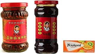 Lao Gan Ma(Laoganma) Black Bean Sauce 9.88oz (Pack of 1) +Lao Gan Ma Chili Crisp Sauce - (7.410z) (Pack of 1) plus a Free Gift Trident Gum, Tropical Twist Flavor