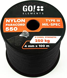 GO!elements 100m Paracord Seil aus reißfester Nylonschnur - 4mm Paracord 550 Typ III Schnur - geeignet als Allzweckseil & Reepschnur | Max. 250kg