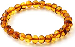 Baltic Amber Bracelet - Adult Size (Women and Men) - 7-8 inches - Made on Elastic Band - Polished Baltic Amber Beads
