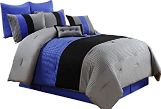 Chezmoi Collection 8 Pieces Luxury Striped Comforter Set (Full, Gray/Black/Blue)