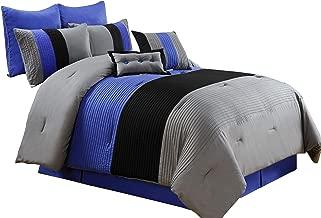 Chezmoi Collection 8 Pieces Luxury Striped Comforter Set (Queen, Gray/Black/Blue)