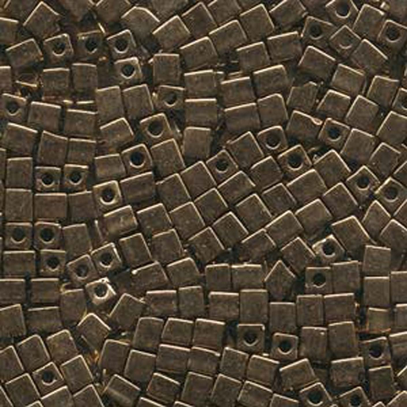 20 Grams Bronze Metallic Miyuki 4mm Square Cube Japanese Glass Seed Beads
